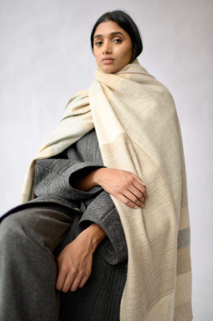 Large Pieced Cashmere Throw