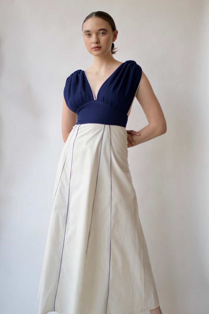1940's Cotton piped dress