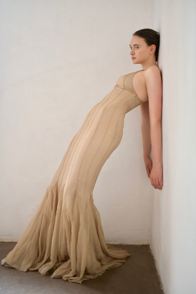 Silk Chiffon Evening Gown