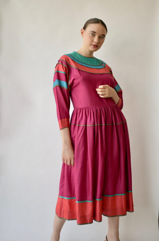 Vintage Kenzo Pieced Silk Dress