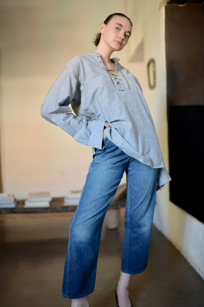 Vintage YSL Chambray Blouse