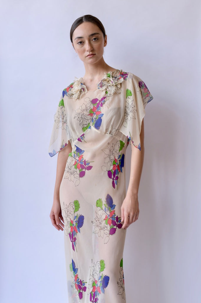 1930s Floral Chiffon Dress