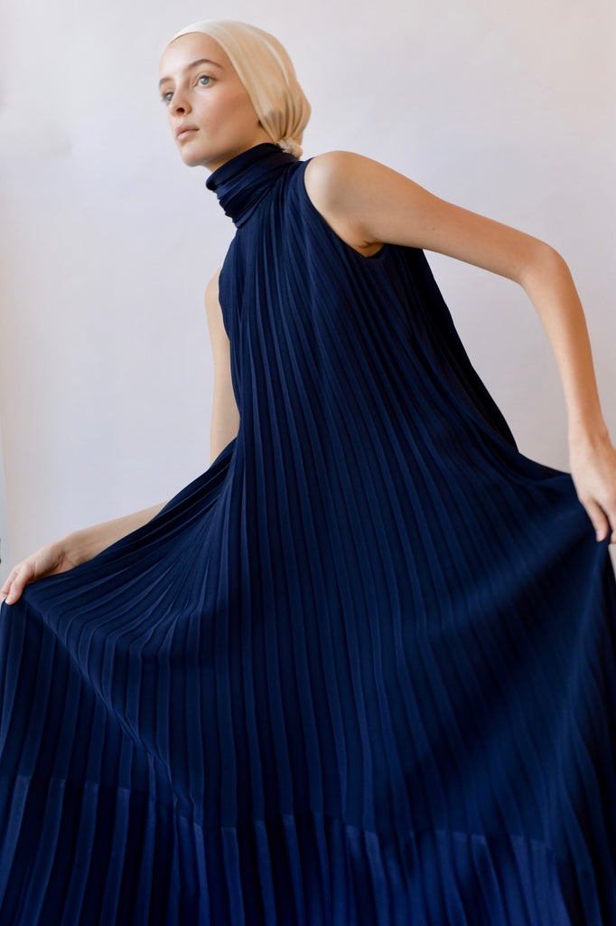 Vintage Navy Pleated Gown