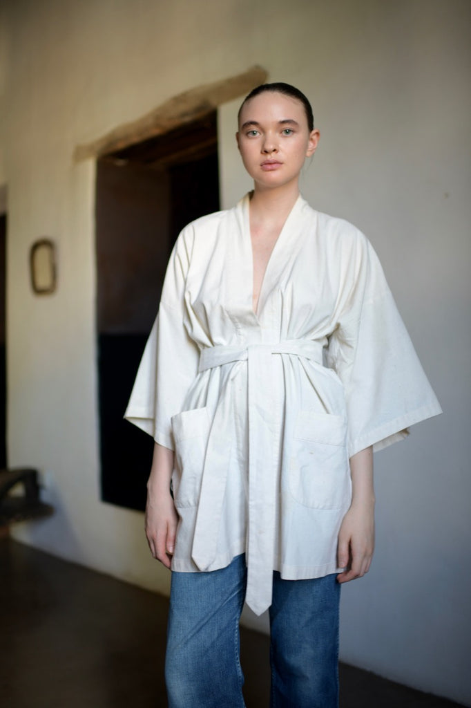 Vintage Raw Silk Wrap Top