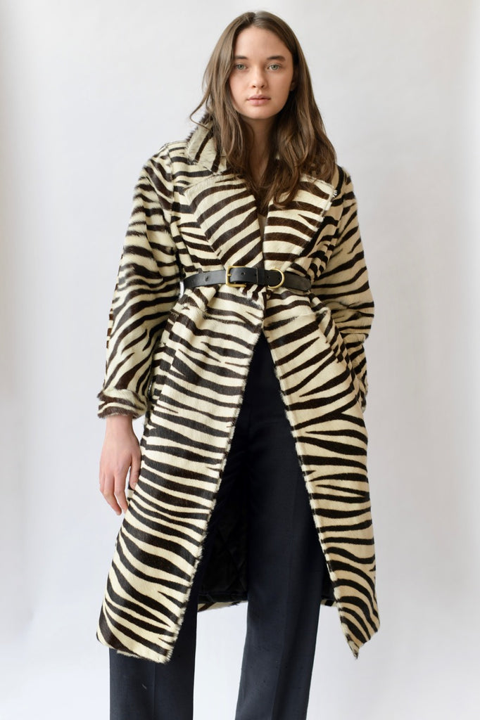 Vintage Animal Print Fur Jacket