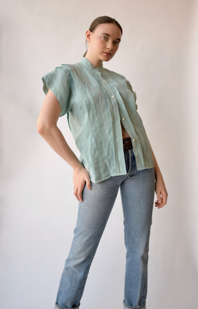 Vintage Kenzo Pleated Linen Blouse