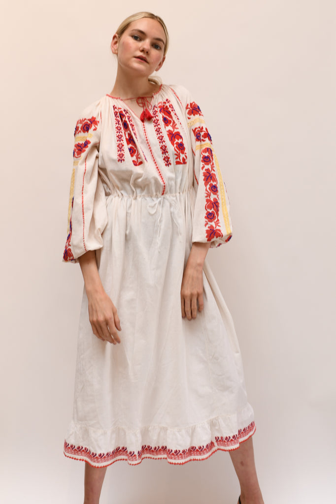 1930s Embroidered Folk Dress