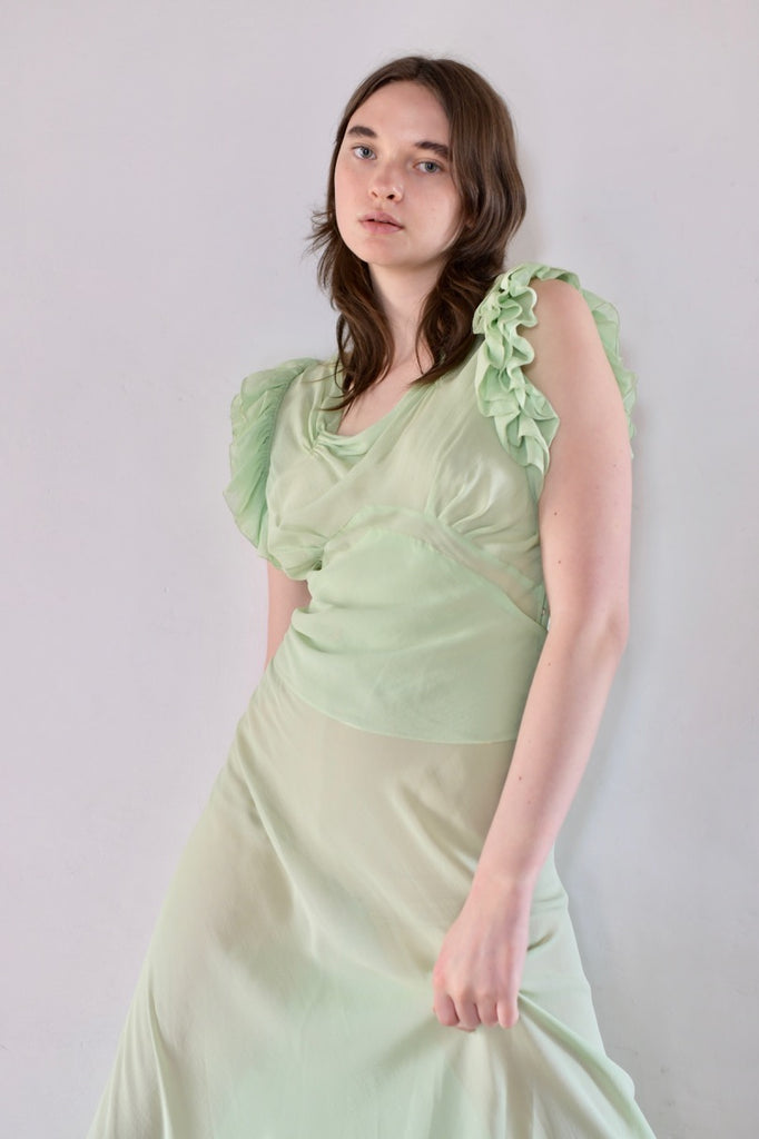 1930s Silk Chiffon Lime Dress