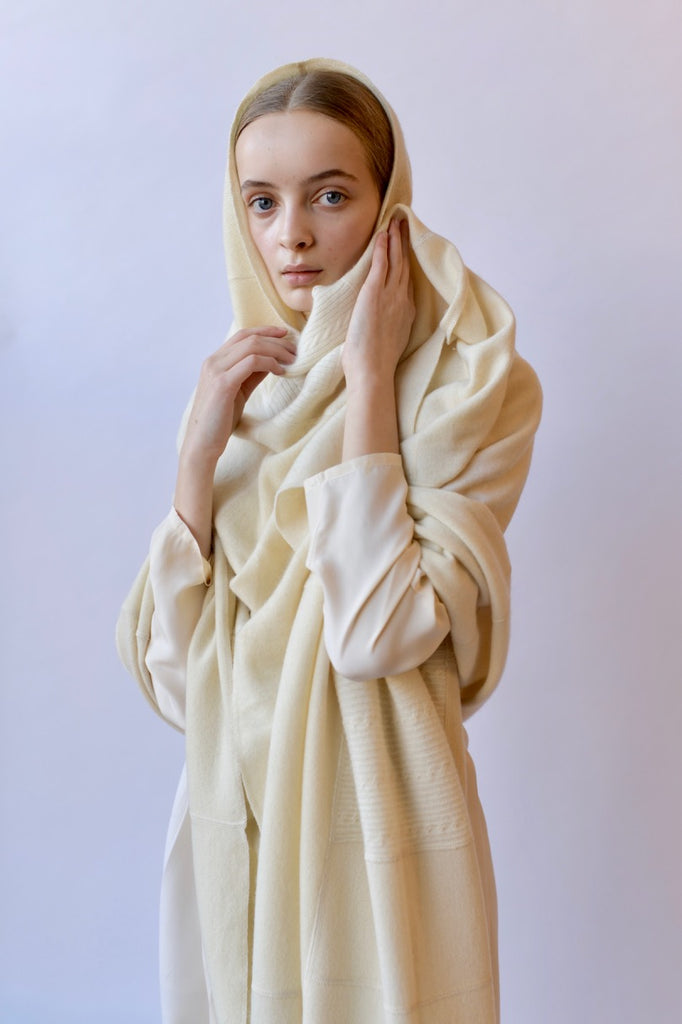 Pieced Ivory Cashmere Scarf - medium
