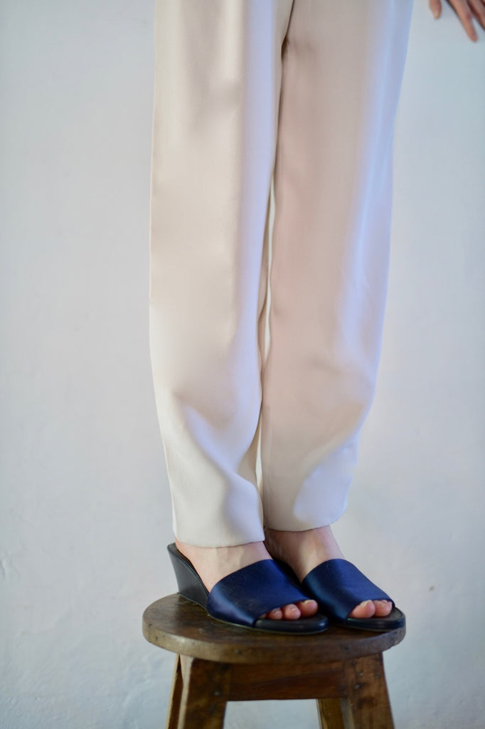 The Row Blue Satin Slides