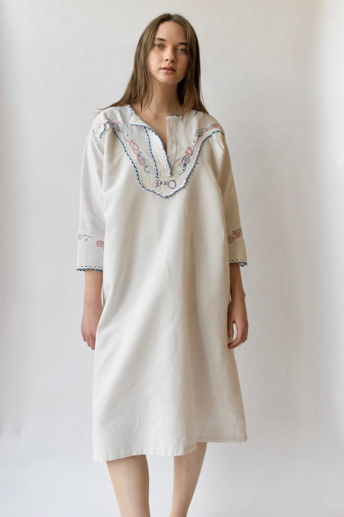 Antique Cotton Smock Dress
