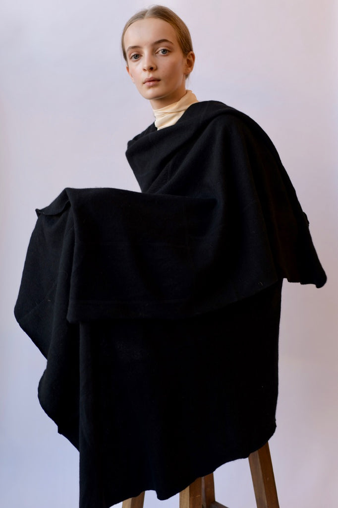 Pieced Black Cashmere Scarf - medium