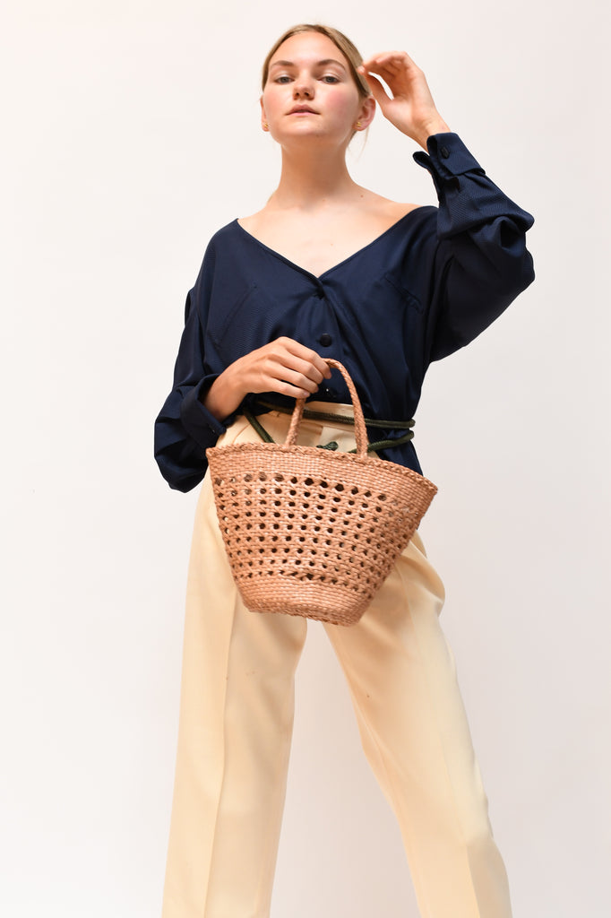 Myra Leather Basket Bag - Natural