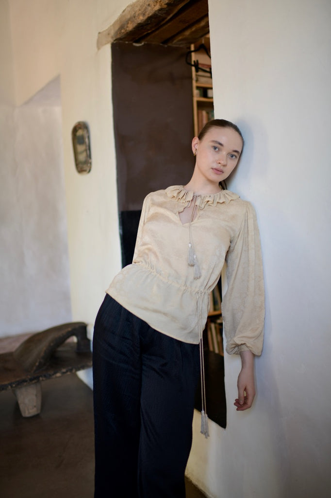 Vintage Yves Saint Laurent Silk Tassel Blouse