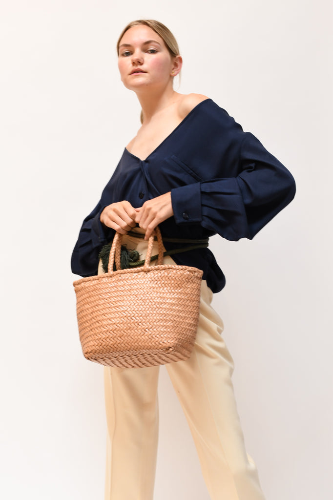 Grace Woven Leather Basket Bag- Natural