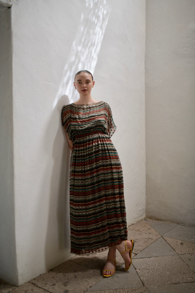 Vintage Silk Chiffon Striped Dress