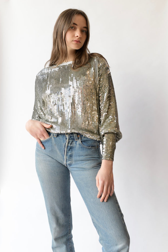 1970s Halston Sequined Blouse
