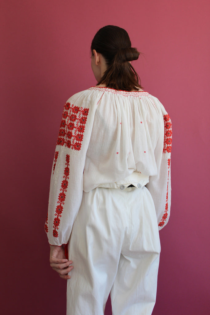 1950's Embroidered Peasant Blouse