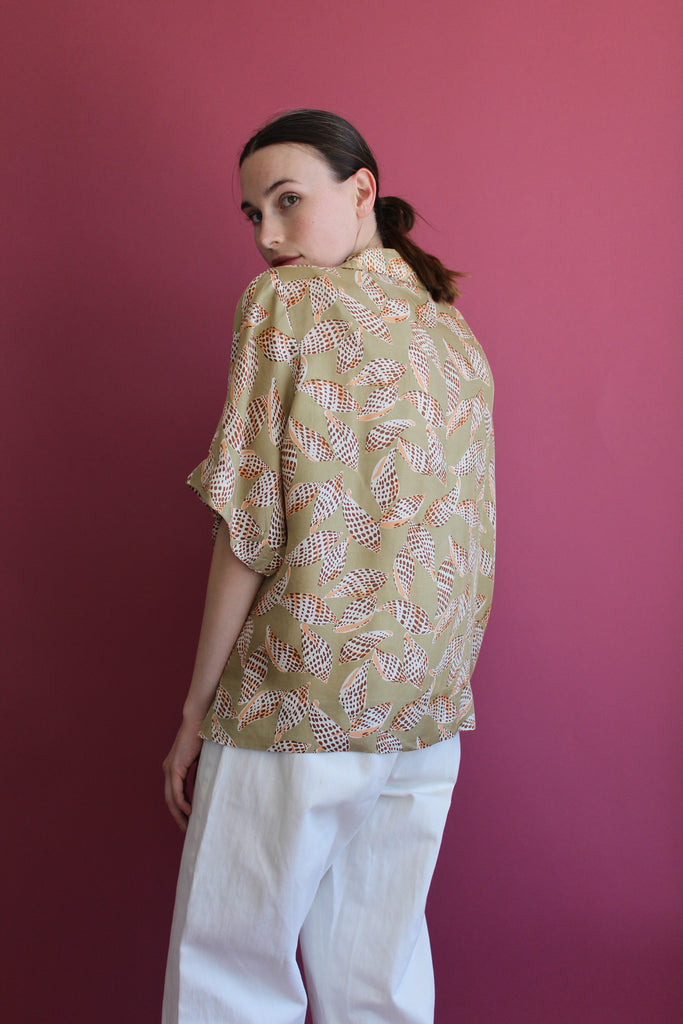 1940's Silk Printed Blouse