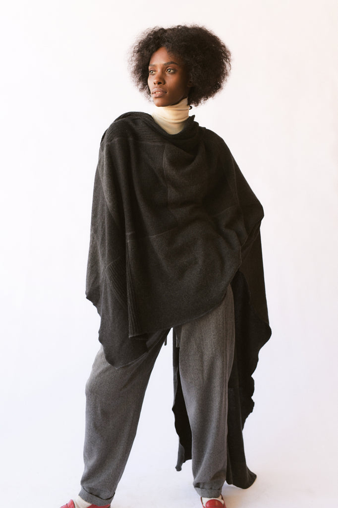 Pieced Charcoal Cashmere Throw - large