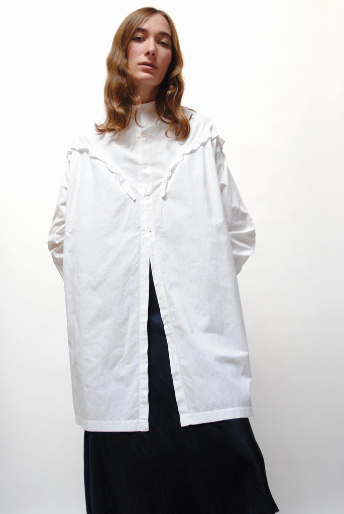 Antique Drop Shoulder White Blouse