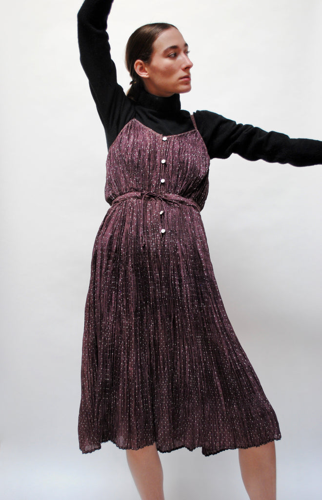 Vintage Micro Pleated Silk Dress
