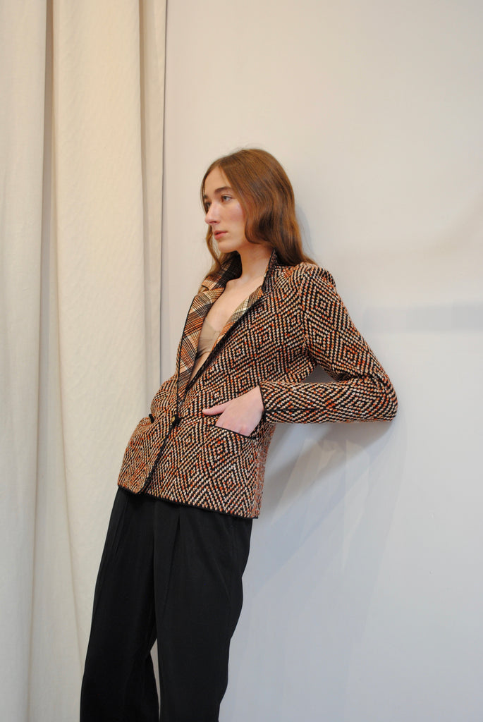 ADOLPHO Silk and Knit Blazer