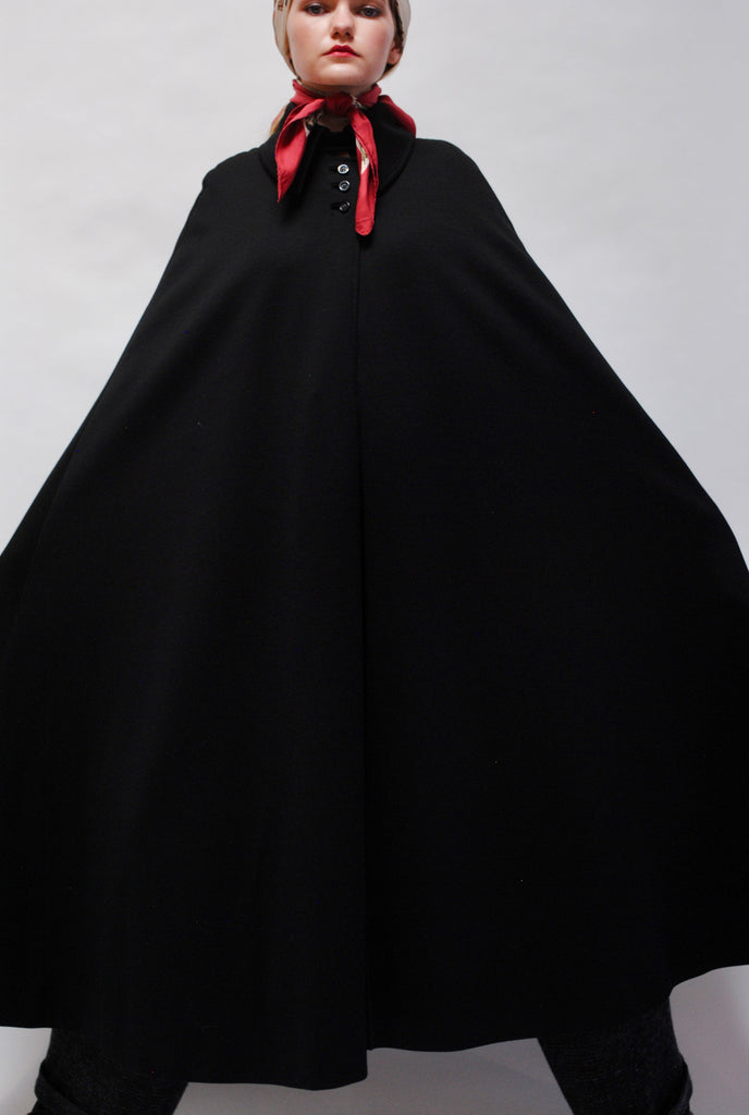 Vintage Knit Black Cape