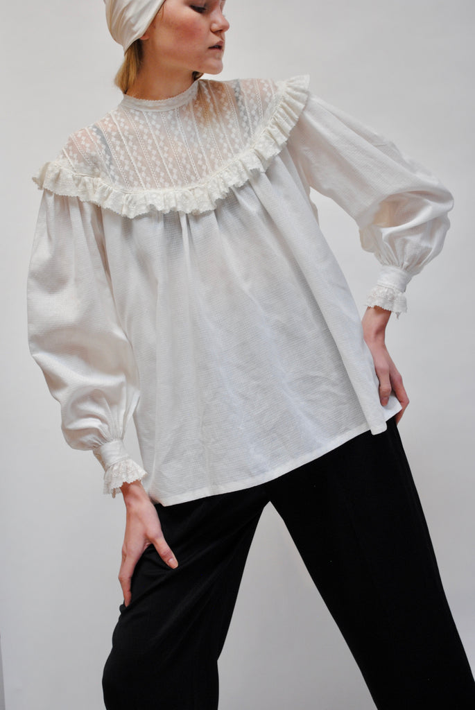 Vintage Ruffled Yolk Blouse