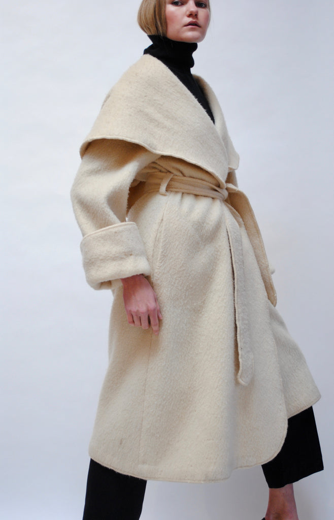 Vintage Alpaca Hooded Coat