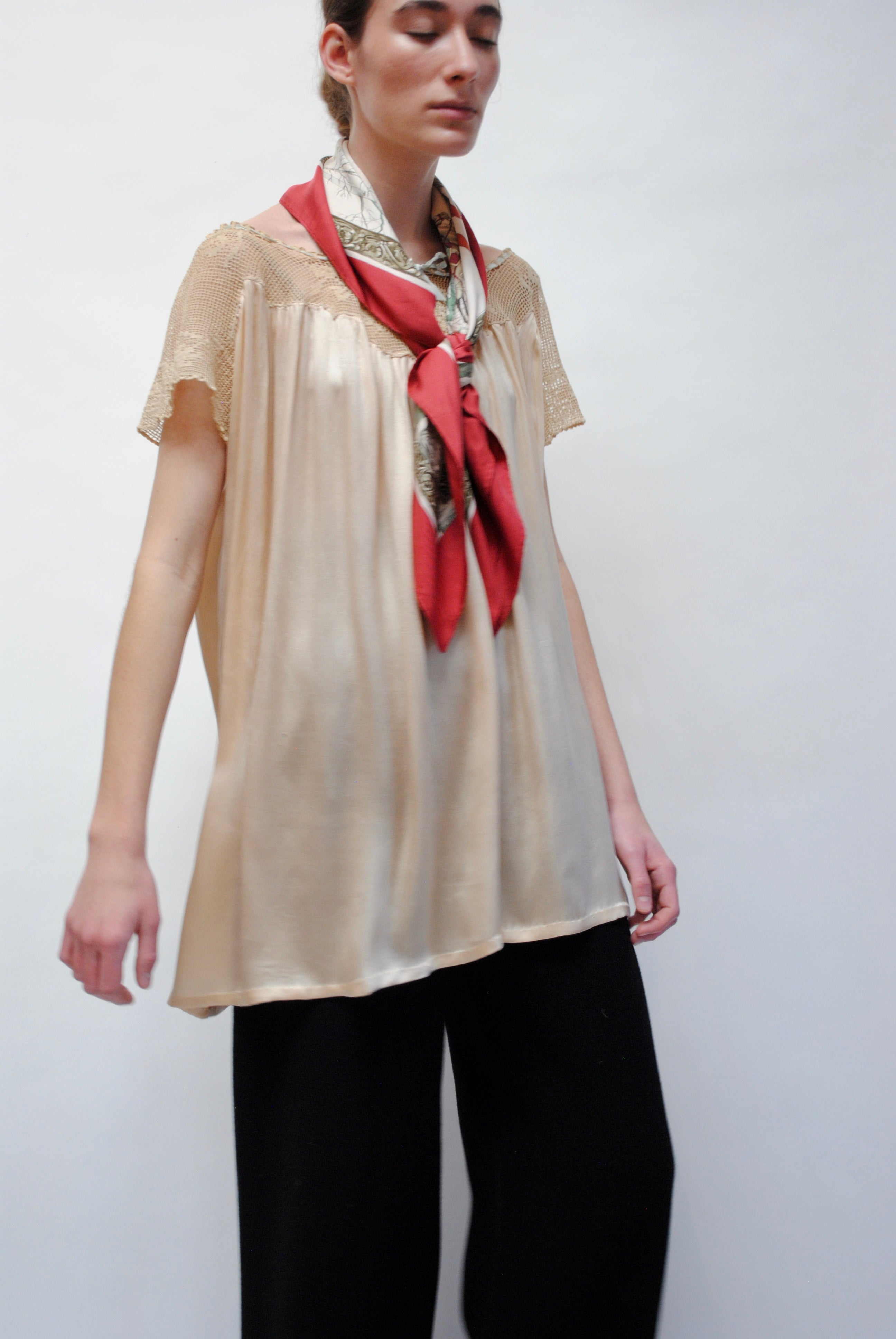 Antique Silk and Crochet Blouse