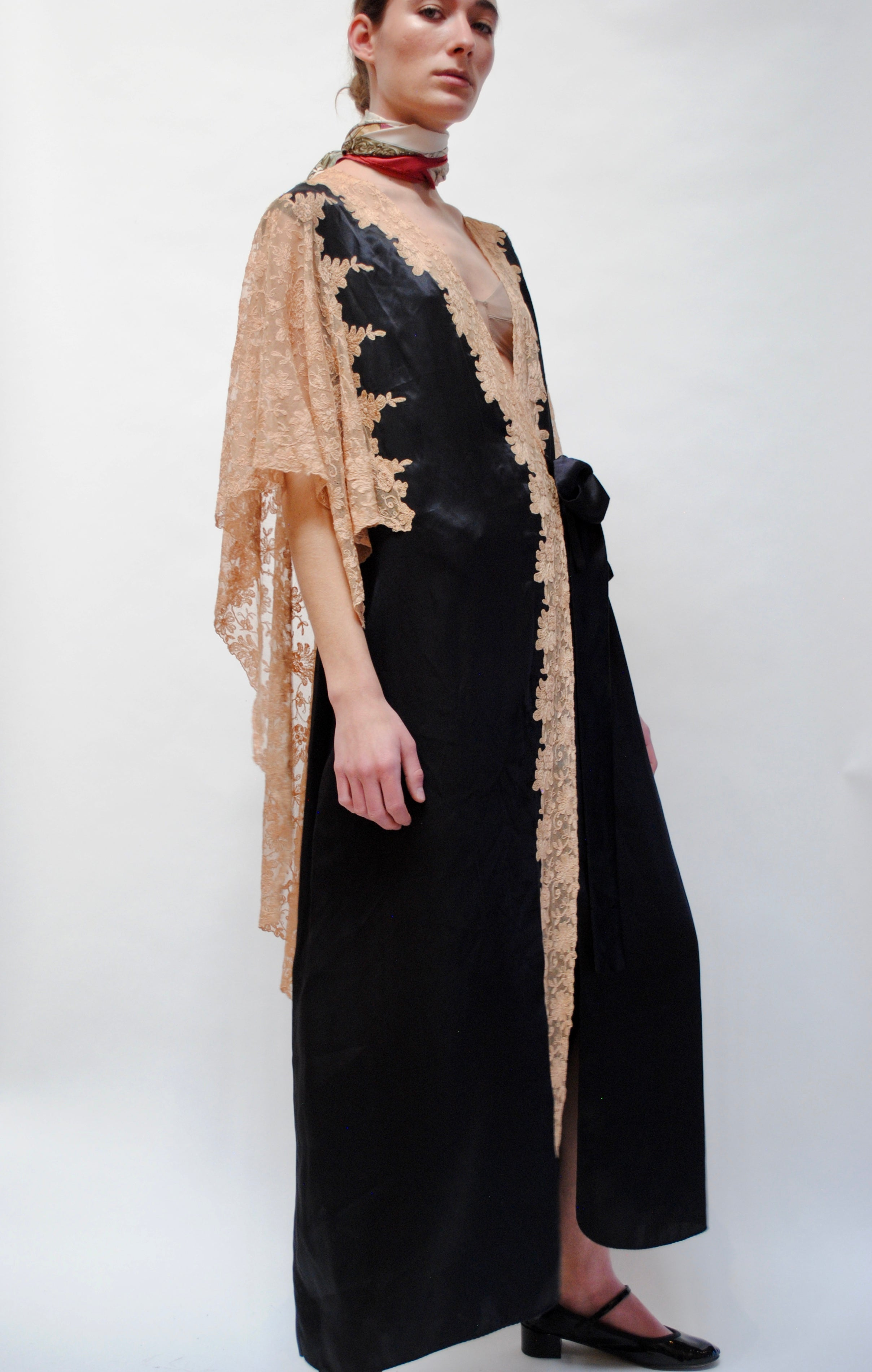 1930s Silk and Lace Tie Gown