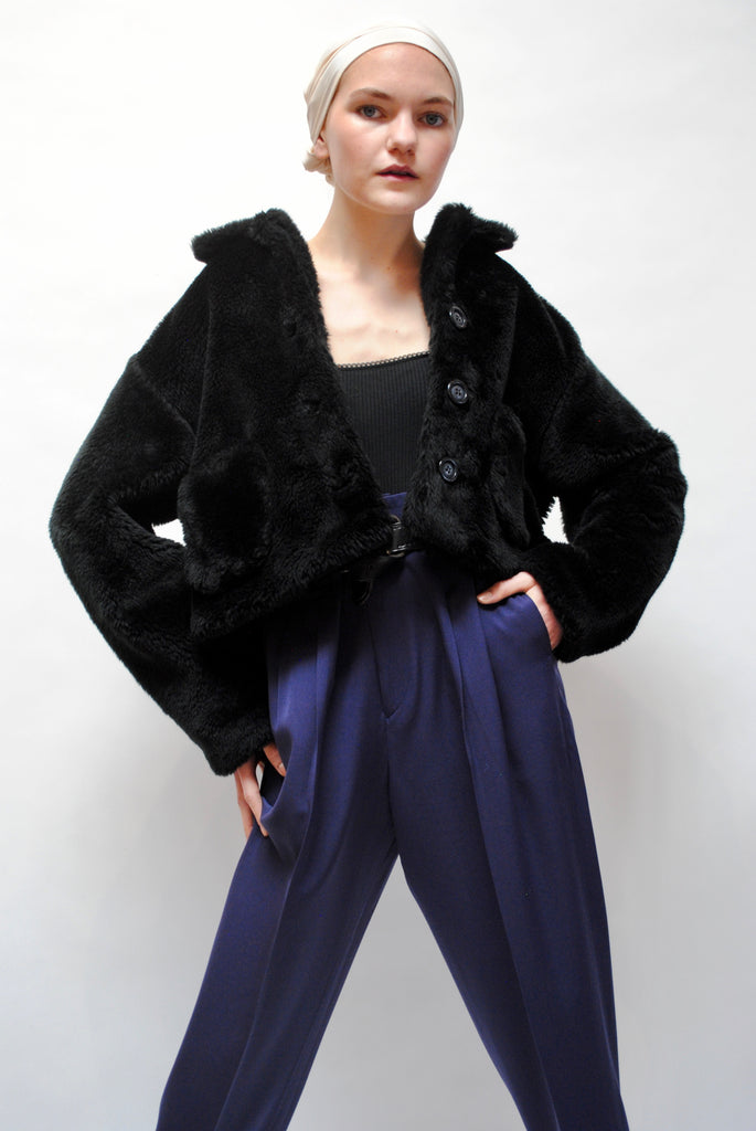 Vintage Cropped Shearling Jacket