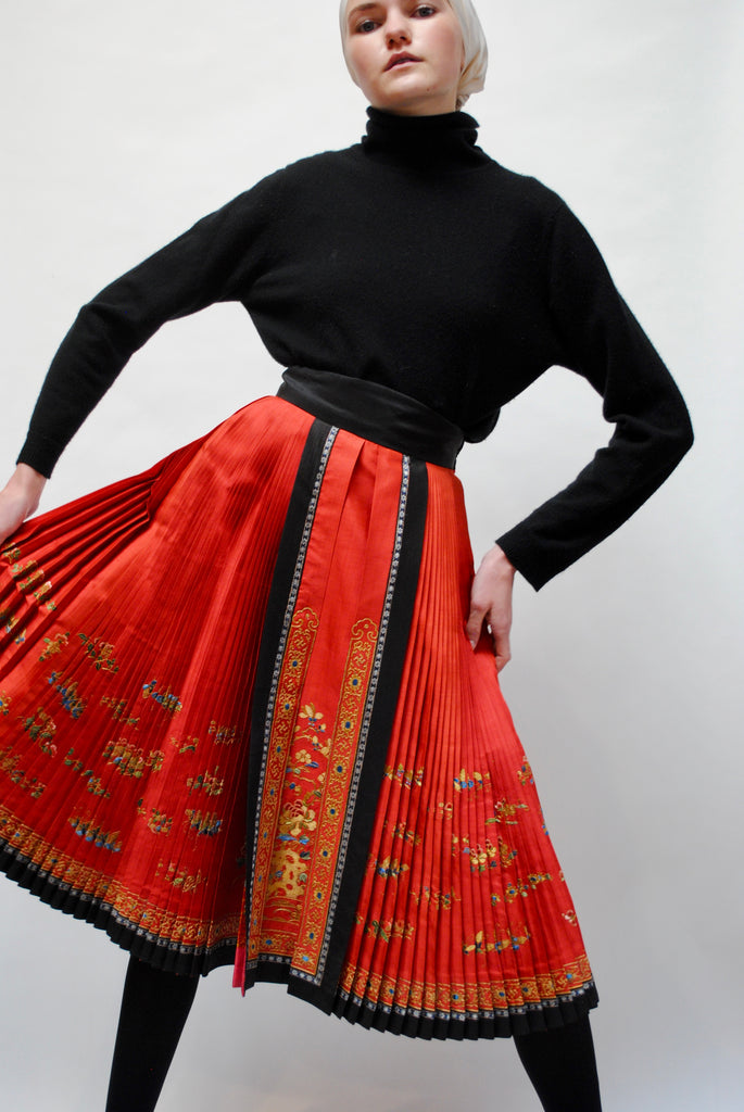 Antique Pleated Silk Skirt