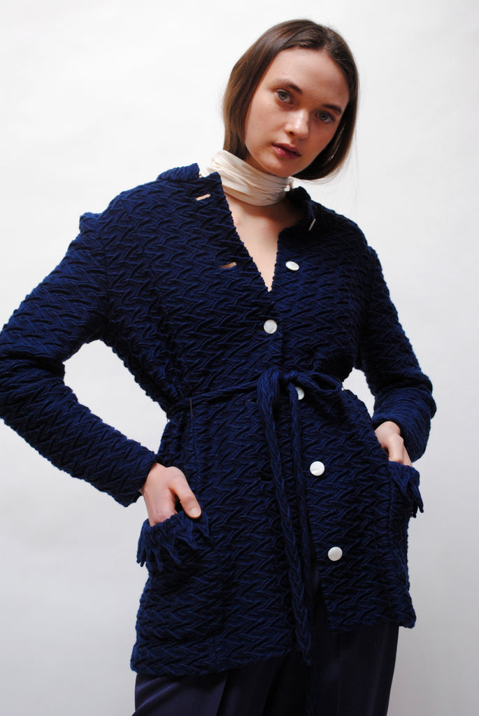 1940s Navy Knit Cardigan