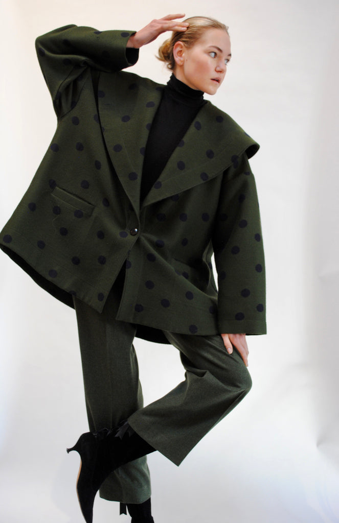 Vintage Dotted Trapeze Coat