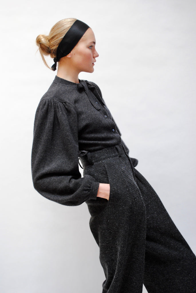 Vintage Charcoal Cashmere Knit Sweater