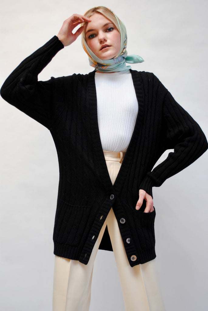 Vintage YSL cable knit cardigan