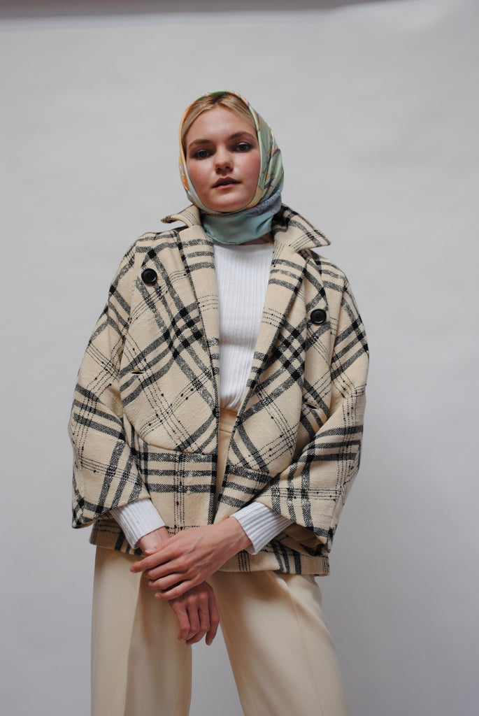 Tweed Checkered Coat