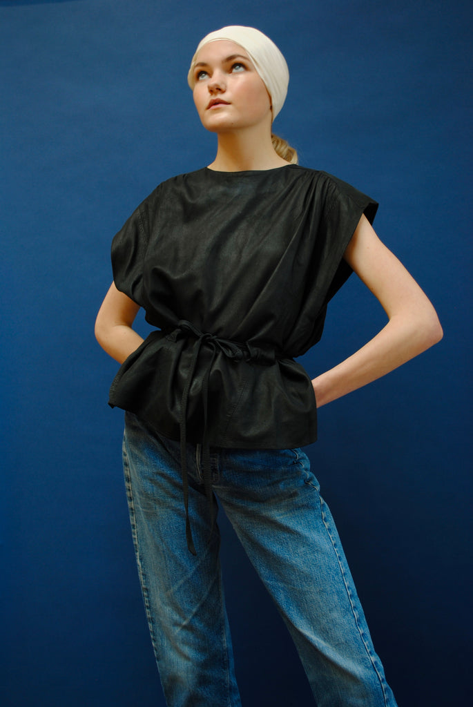 Vintage Leather Tie Blouse