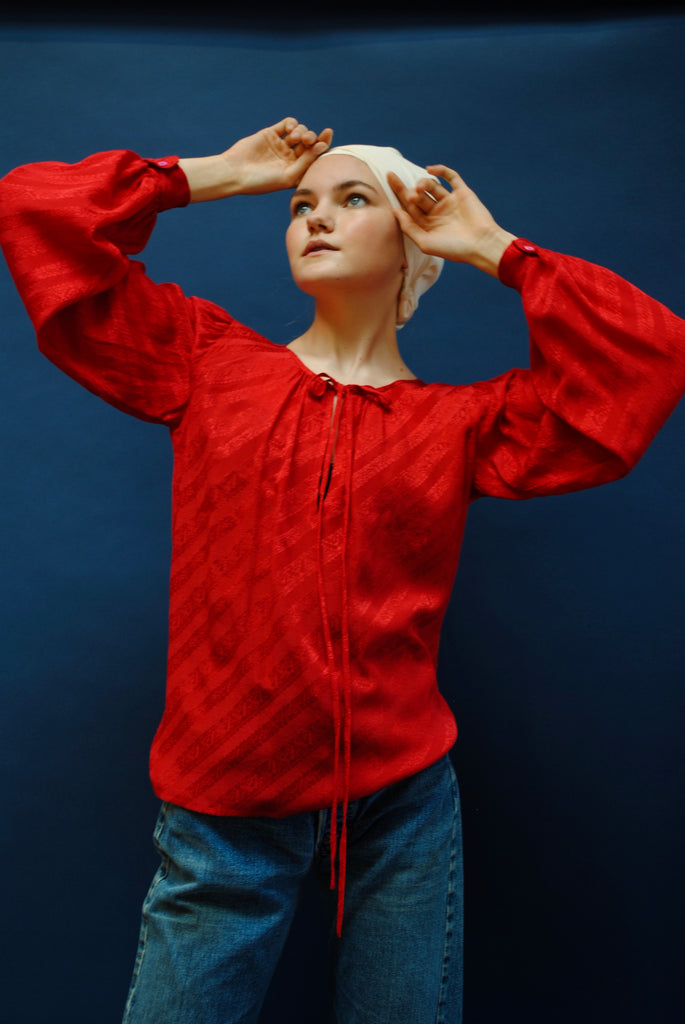 1970's YSL Red Silk Blouse