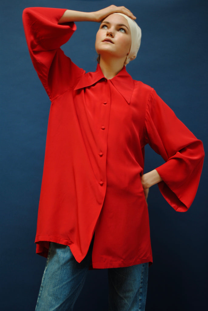 Vintage Red Silk Trapeze Blouse