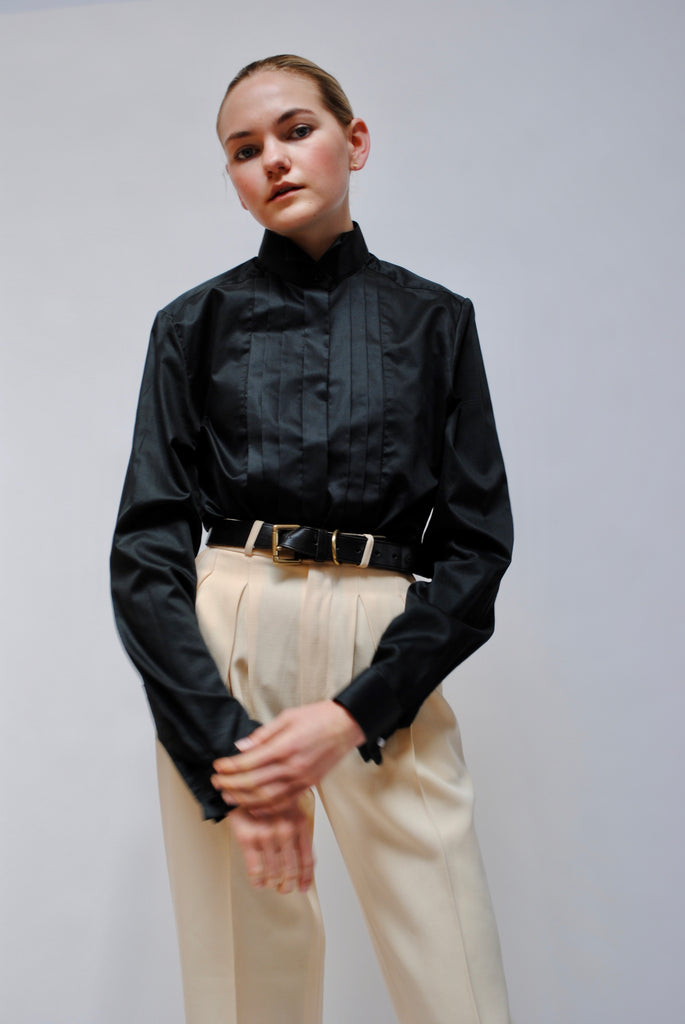 Vintage Pleated Poplin Blouse