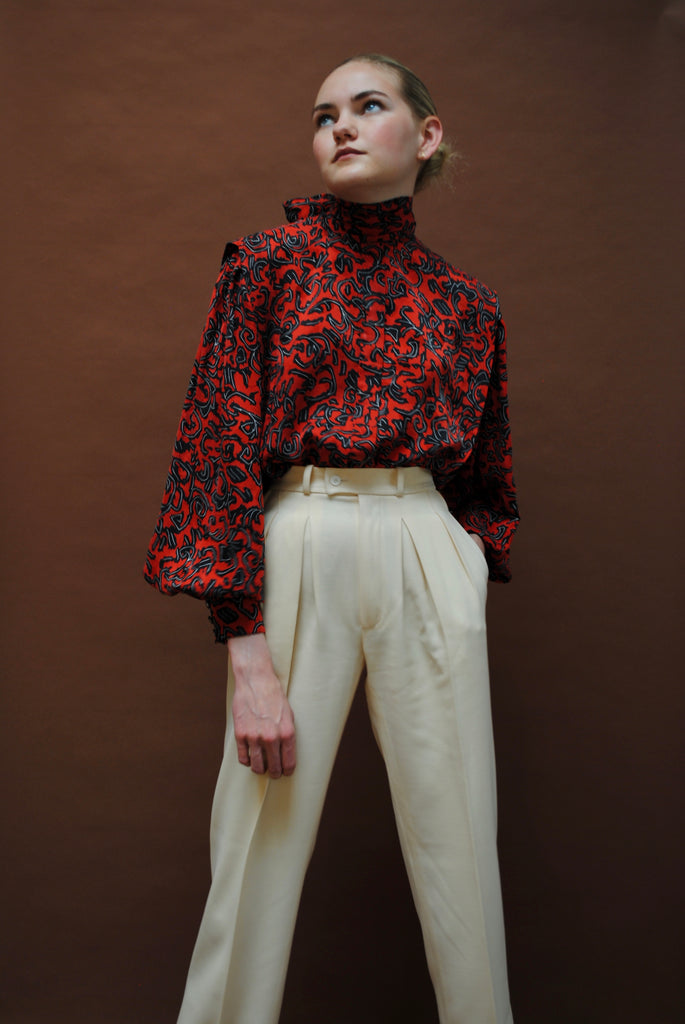 Vintage Printed Silk Blouse