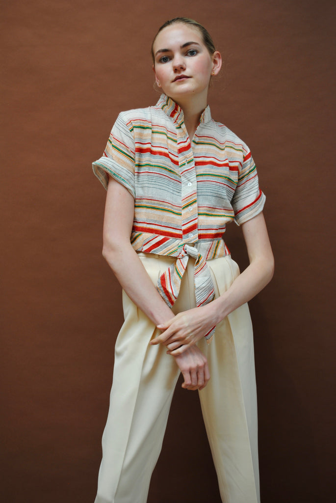 Vintage Woven Striped Blouse