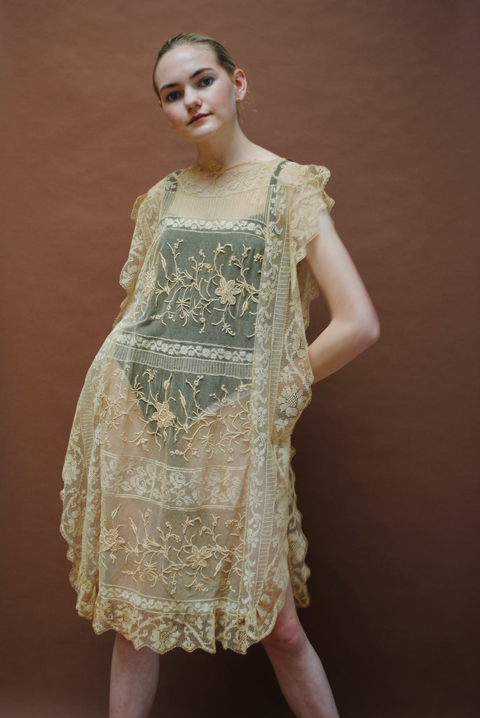 Antique Embroidered Lace Dress