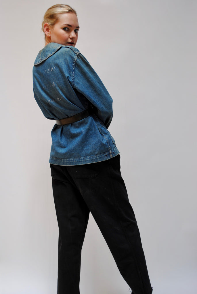 1940s Shawl Collar Denim Jacket