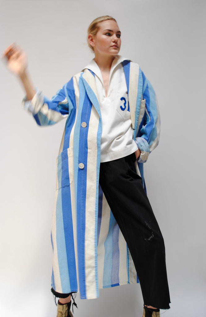 1930s Striped Cotton Duster