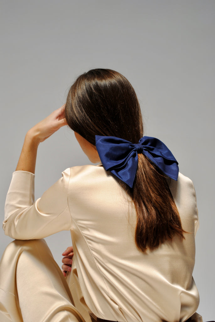 Indigo Silk & Cotton Bow