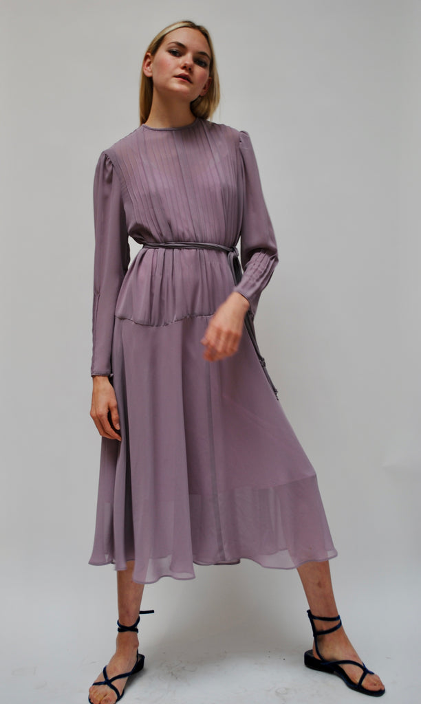 Silk Chiffon Lilac Dress